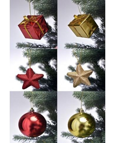 Set de décoration de Noël, rouge/or pour sapin 180cm