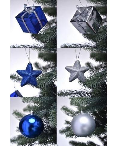 Weihnachts-Deko-Set, blau/silber für 150cm Baum