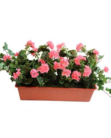 künstliche Geranien, rosa (4 Stk) im 60 cm Balkon- Kasten, Terracota. UV-Geschützt!