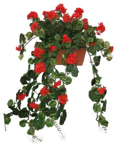 Cintre en géranium artificiel, rouge (2 pièces) en boîte balcon de 40 cm, terracota. Protégé contre les UV !