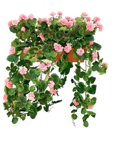 Cintre à géraniums artificiels, rose (3 pcs) en boîte balcon de 60 cm, terracota. Protégé contre les UV !