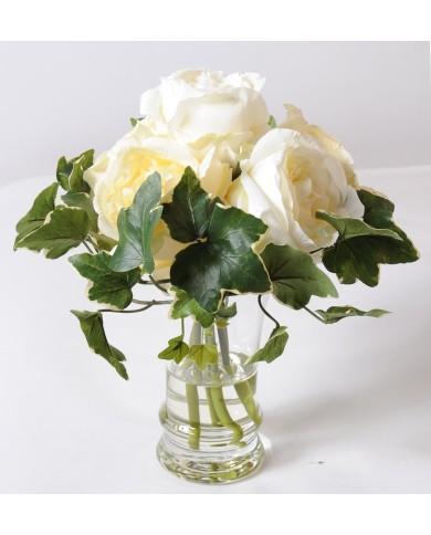 Künstliches Blumenbouquet Rosen weiss, ca. 31cm