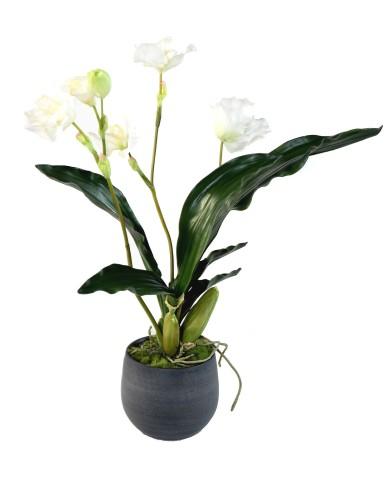Künstliches Blumen-Arrangement Wild-Orchidee im Graphit-Topf, ca. 62cm