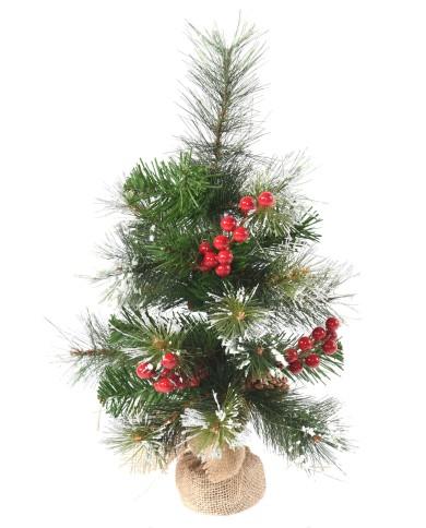 Künstliches Weihnachtsbäumchen mit Beeren und Zapfen -  im Jutesack, ca. 45cm
