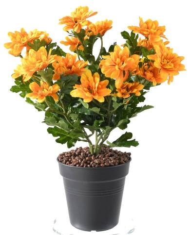 Kunstblume Chrysanthemenbusch orange, ohne Topf, ca. 40cm