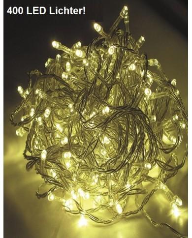 400 LED chaîne lumineuse, câble transparent extérieur/intérieur blanc chaud